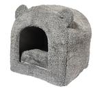 Teddybeer-kattenmand-iglo-grijs-38X38X40-CM