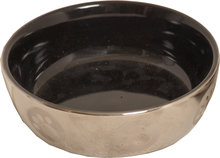 Katten drink voer schotel steen 13 cm Zilver zwart